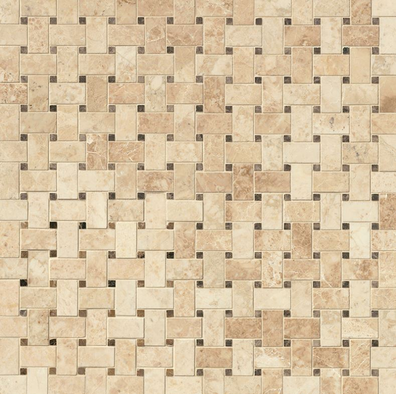 MS International SMOT-CRECAP-BWP Crema Cappuccino Basketweave 12-Inch x 12-Inch x 10mm Polished Marble Mosaic Tile