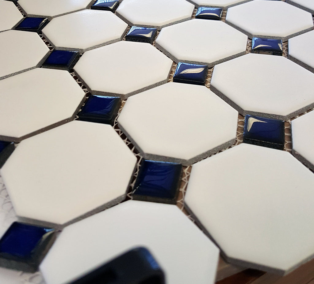 Octagon Porcelain Mosaic Tile Matte White with Glossy Cobalt Blue Dots Designed in Italy (12x12) - Free Shipping
