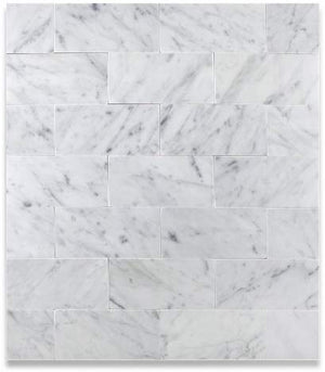 "Carrara Marble Italian White Bianco 3x6"" Marble Subway Tile  - Honed"