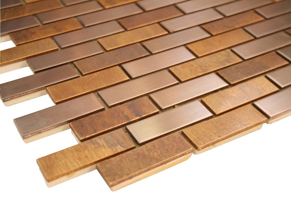 Wood Look and Bronze Stainless Steel Subway Style Mosaic Tiles
