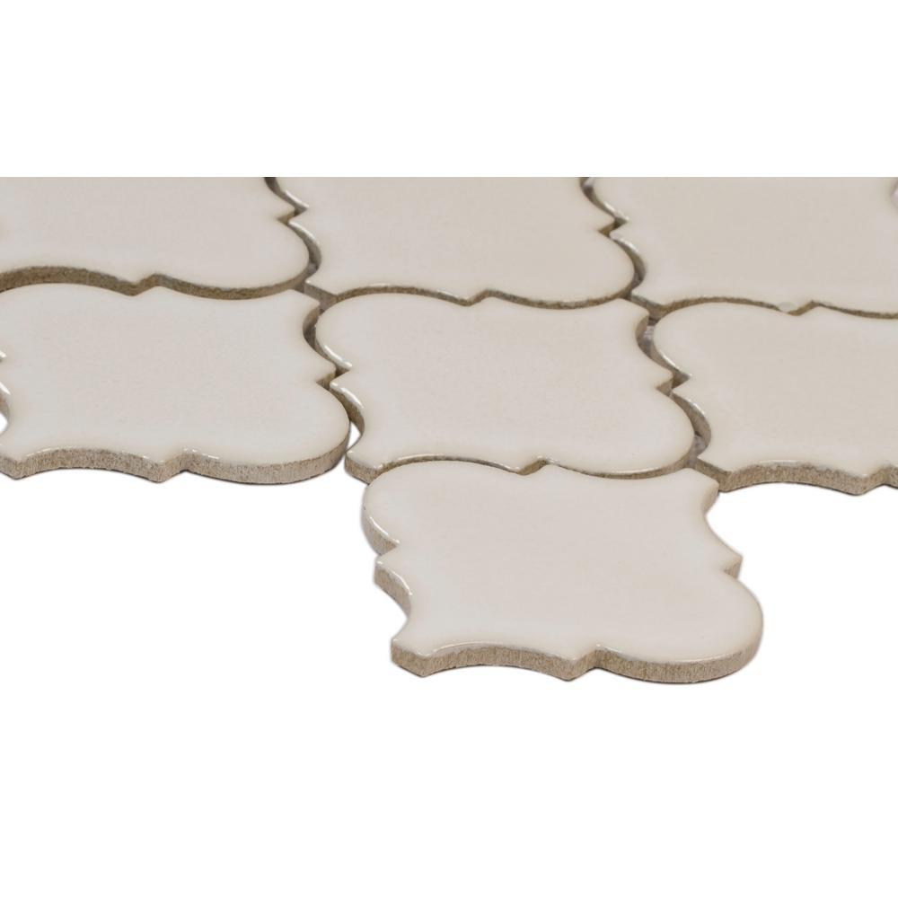 Antique White Arabesque 10-1/2 in. x 15-1/2 in. x 8mm Glazed Ceramic Mesh-Mounted Mosaic Wall Tile (11.3 sq. ft. / case)