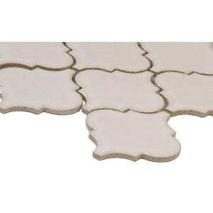 Antique White Arabesque 10-1/2 in. x 15-1/2 in. x 8mm Glazed Ceramic Mesh-Mounted Mosaic Wall Tile (11.3 sq. ft. / case) - Free Shipping