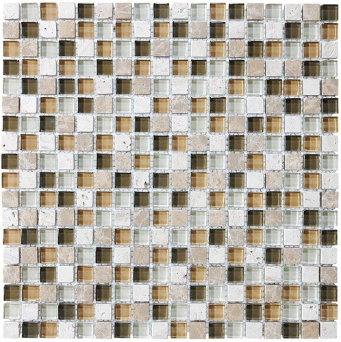 10 Sq Ft - Bliss Bamboo Stone and Glass 5/8 x 5/8 Square Mosaic Tiles - Kitchen Backsplash/Tub Surround