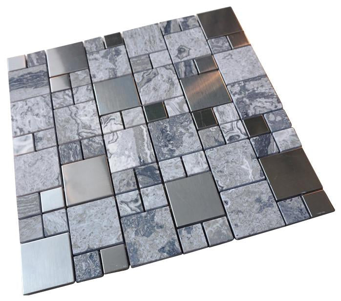 Pebble Stone Marble with Grey Metallic Square Glass Mosaic Tiles for Bathroom and Kitchen Walls Kitchen Backsplashes