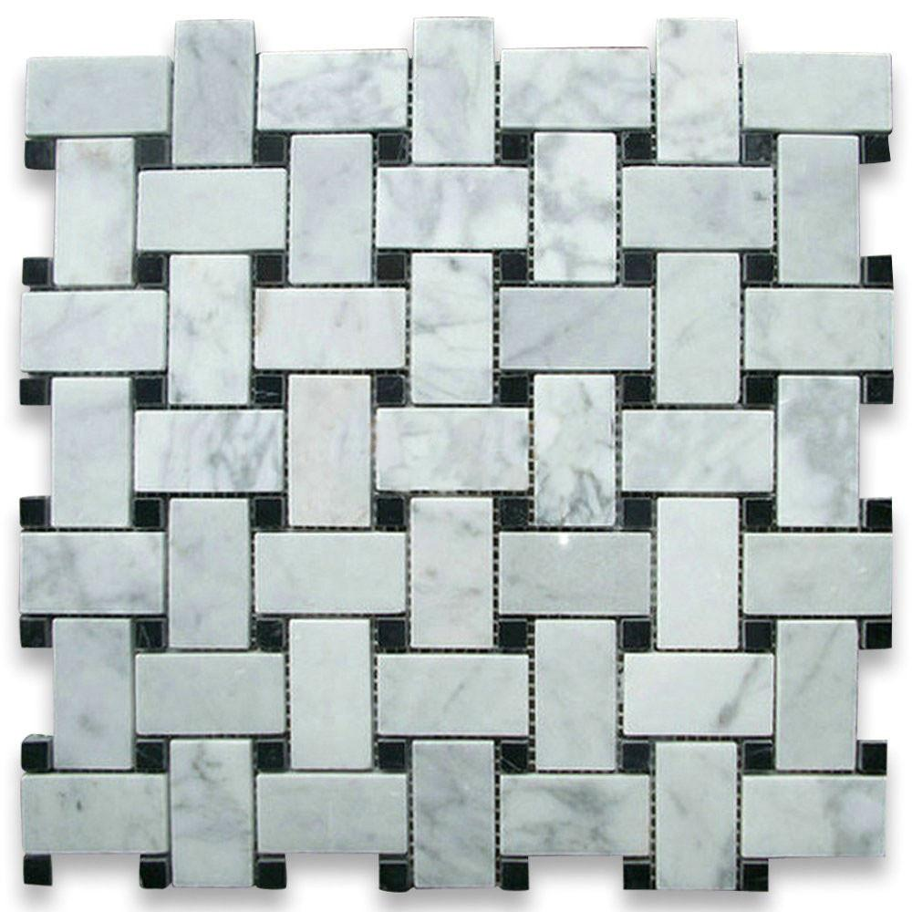 Carrara Marble Italian White Bianco Carrera Basketweave Mosaic Tile with Nero Marquina Black Dots Honed