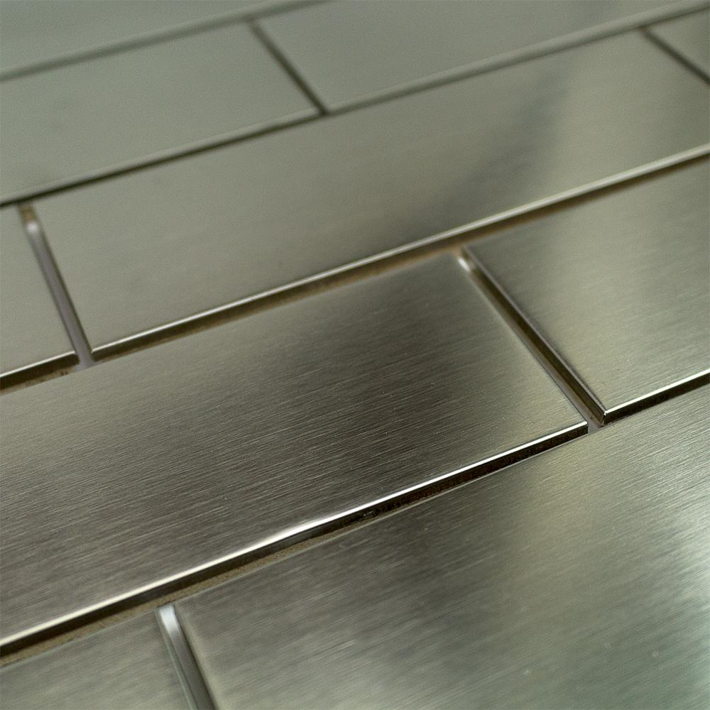 Stainless Steel Metal 3 in. x 9 in. Silver Floor and Wall Tile - Free Shipping