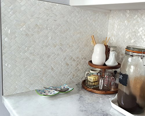 Genuine Natural Mother of Pearl Oyster Herringbone Shell Mosaic Tile with Backing   By Vogue Tile - Free Shipping