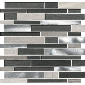 MSI Urban Loft Interlocking 12 in. x 12 in. x 4mm Glass Stone and Metal Mesh-Mounted Mosaic Tile