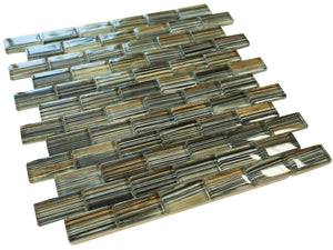 Grey and Golden Modern Art Glass Mosaic Tiles (Brick Pattern & Glass)