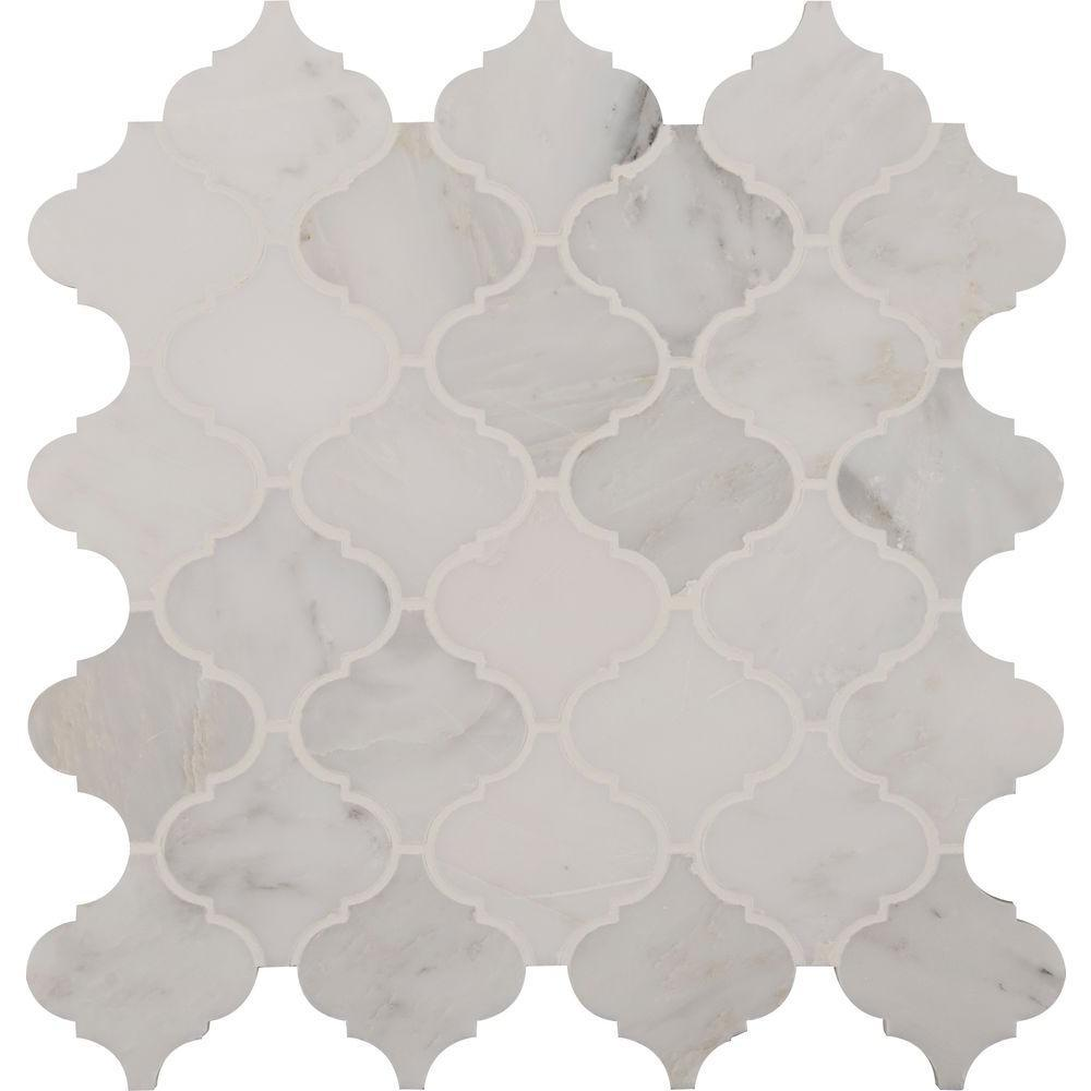 MS International Greecian White Arabesque 12 in. x 12 in. x 10 mm Polished Marble Mesh-Mounted Mosaic Floor and Wall Tile (10sq.ft./case)