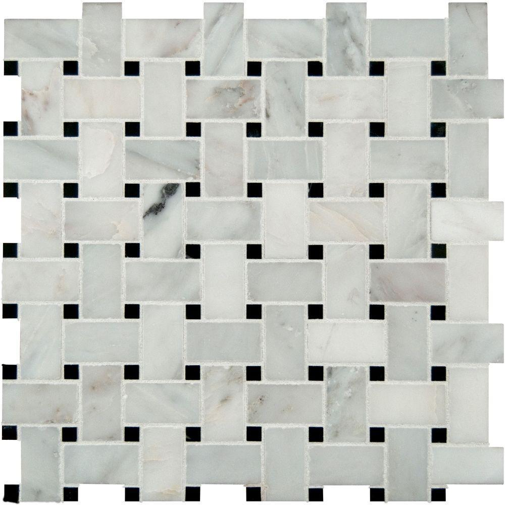 MS International Greecian White Basketweave 12 in. x 12 in. x 10 mm Honed Marble Mesh-Mounted Mosaic Tile (10 sq. ft. / case)