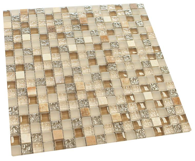 Cream with Cream Marble Square Glass Mosaic Tile