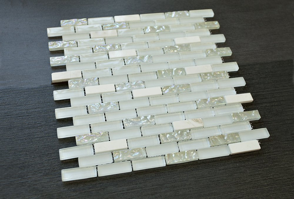 1/2 x 2 Brick Pattern Glass Tile; Color: White Glass Tile & White Marble Tile