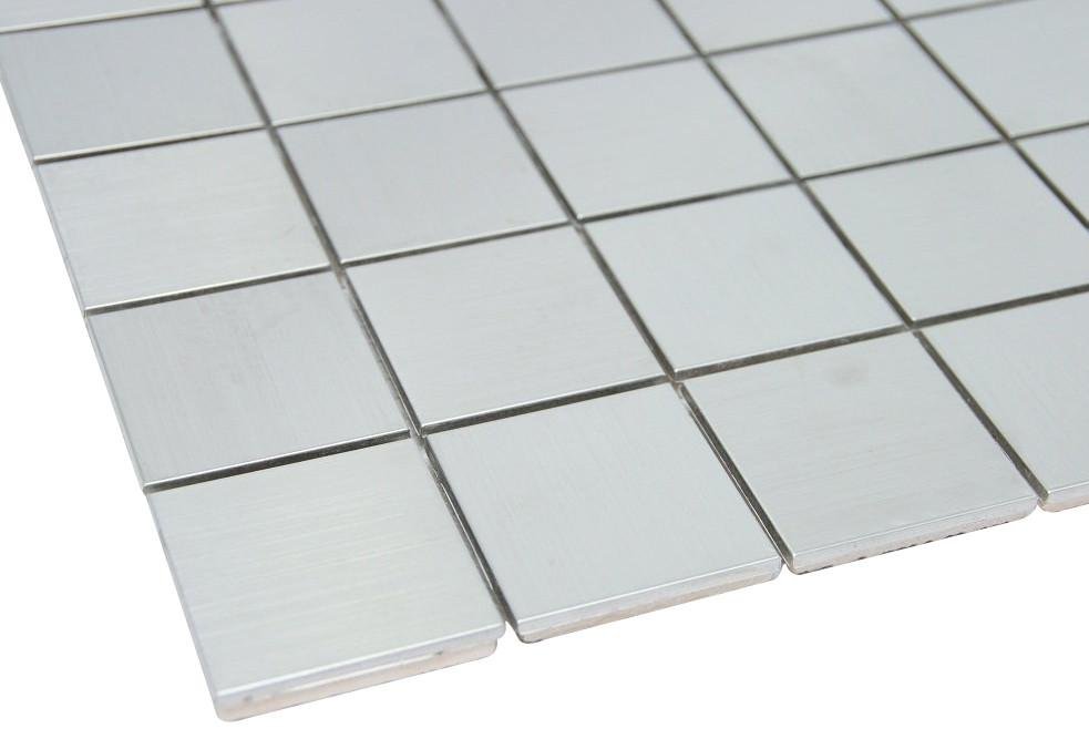 Matte Silver Stainless Steel Metallic Square Glass Mosaic Tiles