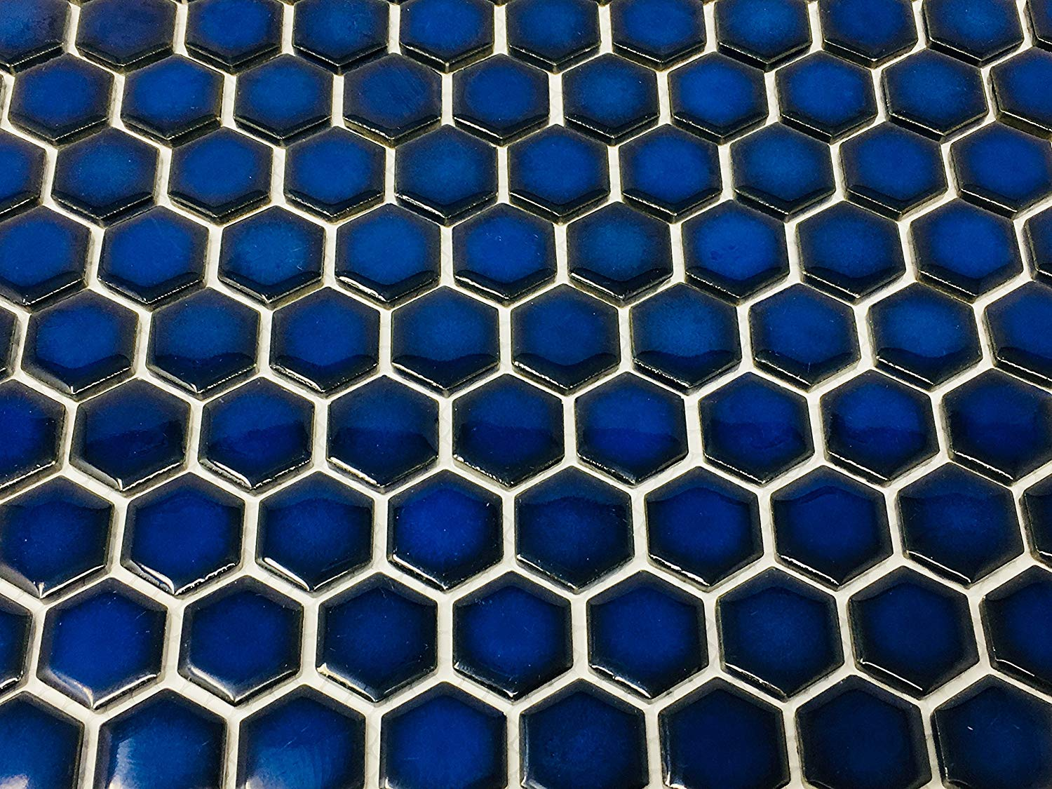 Image of: Hexagon Cobalt Blue Porcelain Mosaic Tile Glossy Look 1 Inch Box Of Tenedos