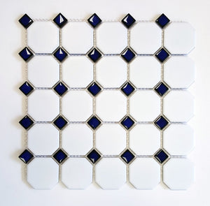 Vogue Octagon Porcelain Mosaic Tile Matte White with Glossy Cobalt Blue Dots Designed in Italy (12x12) - Free Shipping