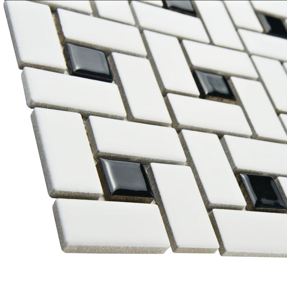 Vogue Spiral Pattern Porcelain Pinwheel Mosaic Tile Matte White with Shiny Black Dots Designed in Italy - Free Shipping