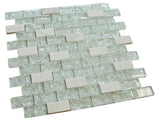 White Cleft Glass and Bianco Marble Mosaic Tile
