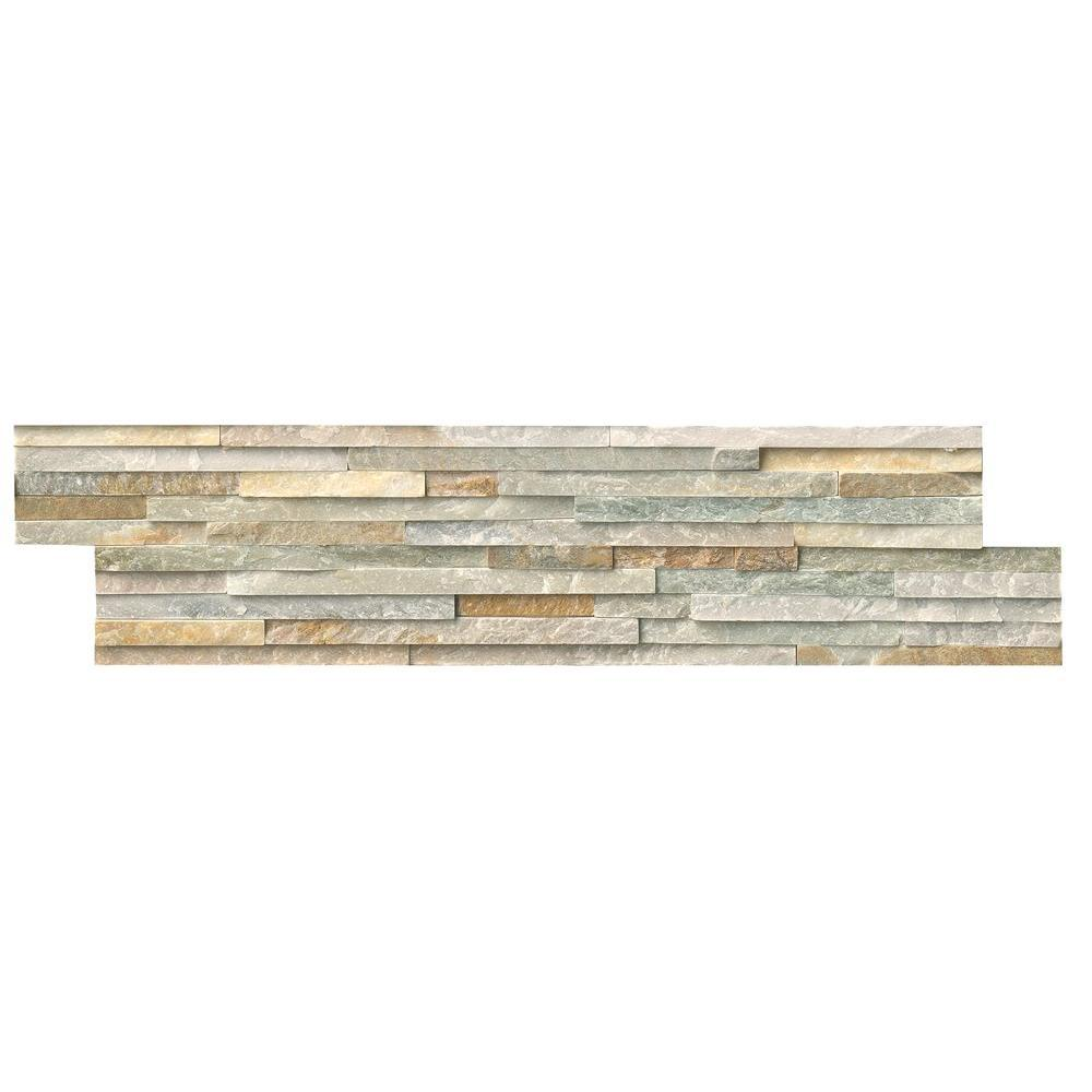 MS International Golden Honey Pencil Ledger Panel 6 in. x 24 in. Natural Quartzite Wall Tile (8 cases / 64 sq. ft. / pallet)