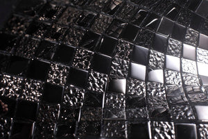 Glossy Black Raindrop Modern Square Glass Mosaic Tiles