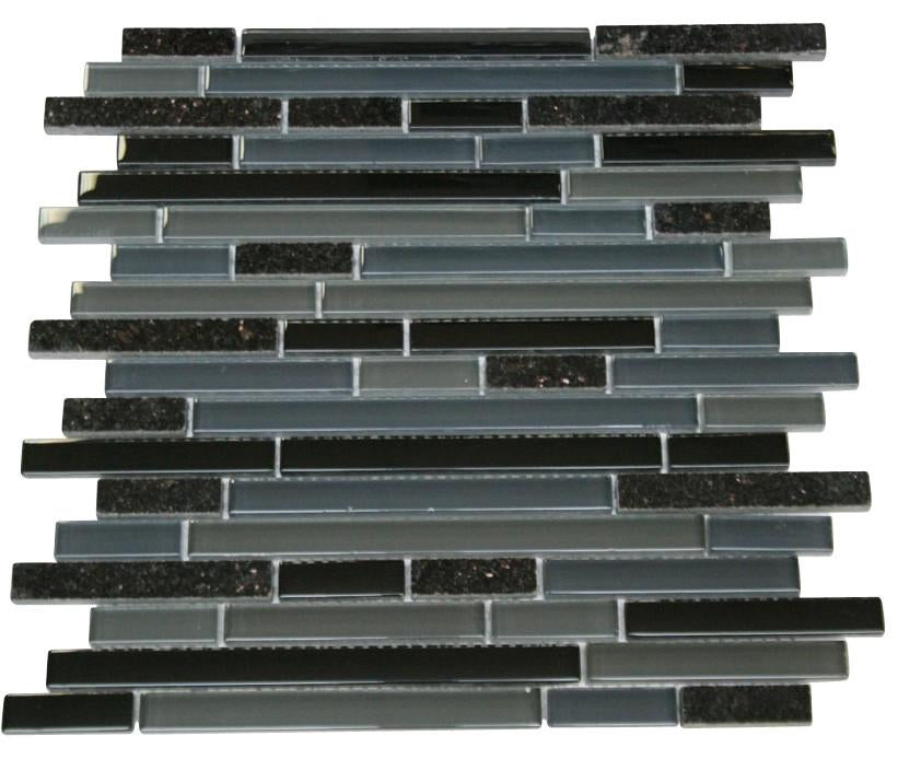 Dark Night Glossy Stone Glass Mosaic Tiles