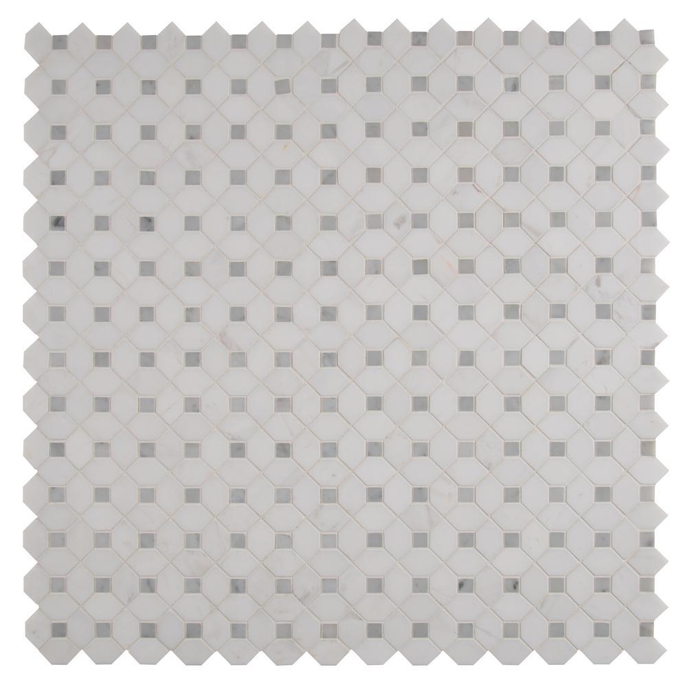 MS International Bianco Dolomite Dotty 12.31 in. x 12.36 in. x 10 mm Polished Marble Mesh-Mounted Mosaic Tile (10.6 sq. ft. / case)