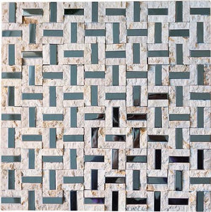 Split Faced Beige Stone & Stainless Steel Authentic Glass Mosaic Tiles