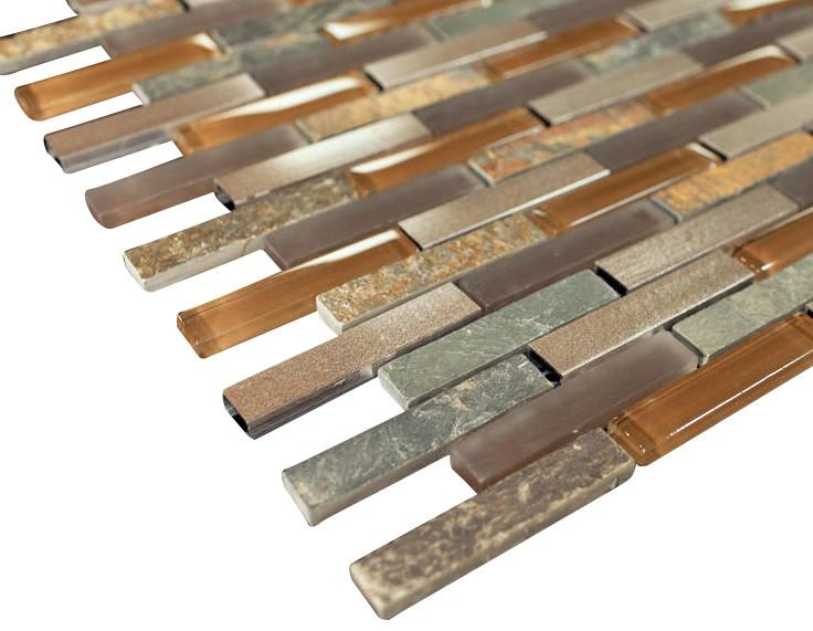 Land Brown Aliminum Stone Glass Mosaic Tile Random Pattern