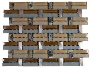 Glossy Light and Dark Brown, Blue & Brown Marble & Silver Aluminum Authentic Glass Mosaic Tiles