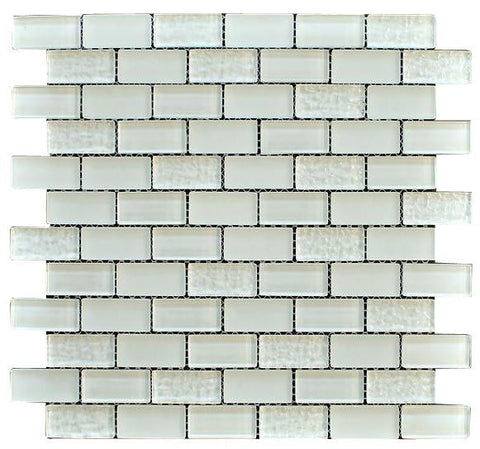 Snow White Crystal Subway Glass Mosaic Tiles