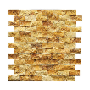 "Gold/Yellow 1X2 Travertine Split Face Mosaic Tile ( on 12"" x 12"" Mesh Sheet)"