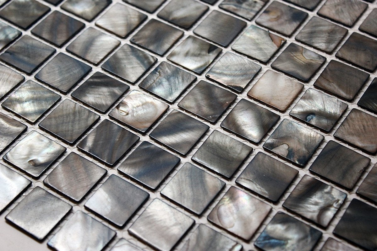 "Premium Quality Deep Sea Black Mother of Pearl Sea Shell Mosaic Tile 1"" x 1"" ( on 12"" x 12"" Mesh)"