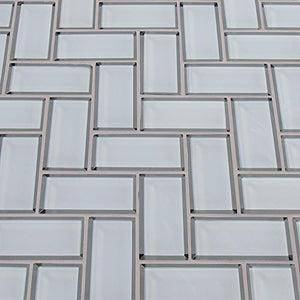 White Glass Mirror Beveled Herringbone 2'' x 4'' Tile Kitchen Backsplash Idea Bath Shower Wall Mosaics