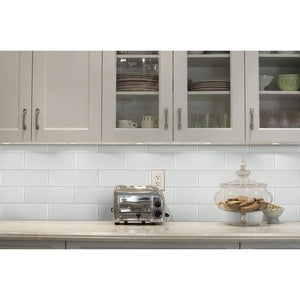 "White Ceramic Beveled Subway Tile 4"" X 12"" (Box of 10 Sq Ft)- Glossy Finish - Free Shipping"