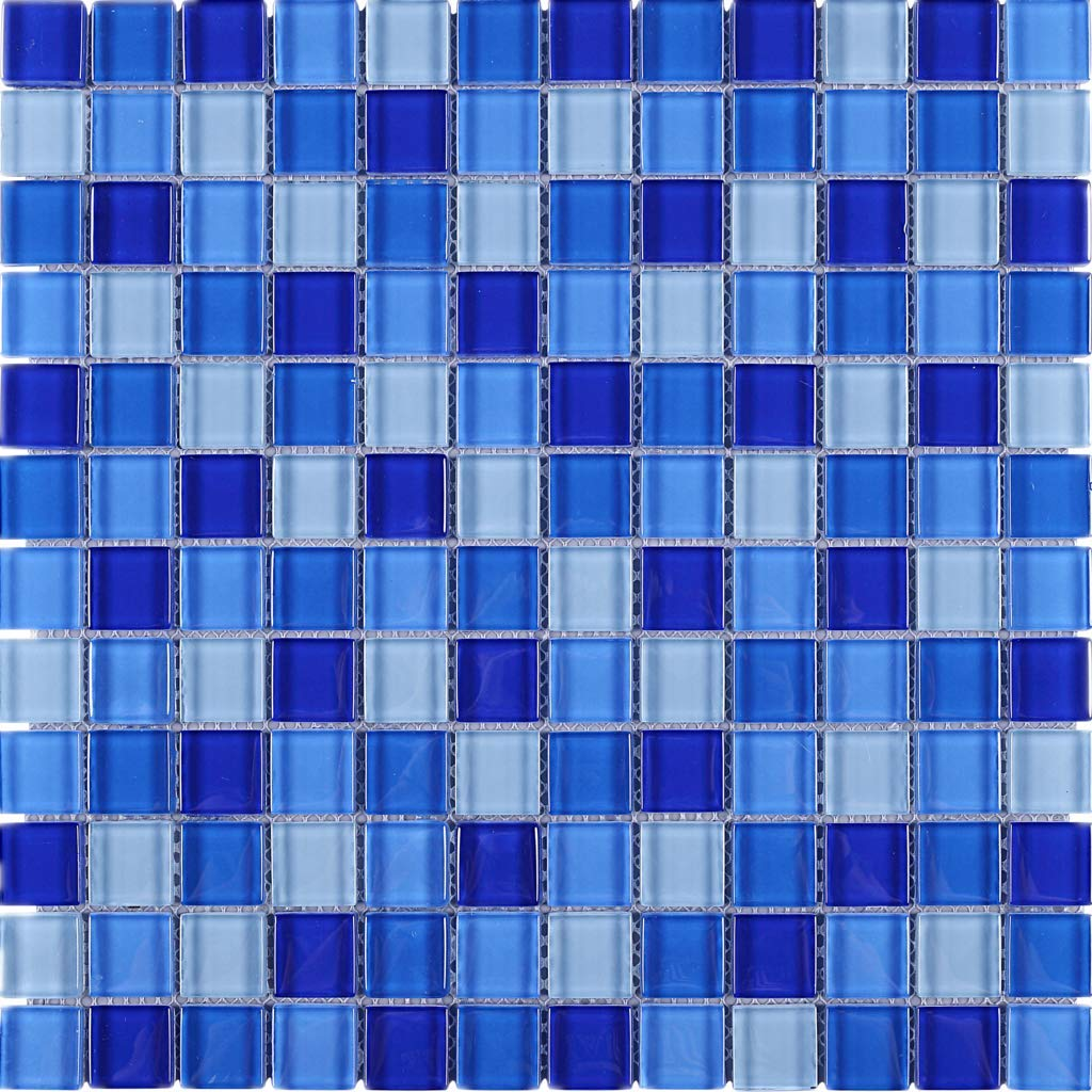 Square Multi Shade Glass Mosaic Tile for Kitchen Backsplashes, Bathroom Walls, Spa, Pool (Sky Blue)