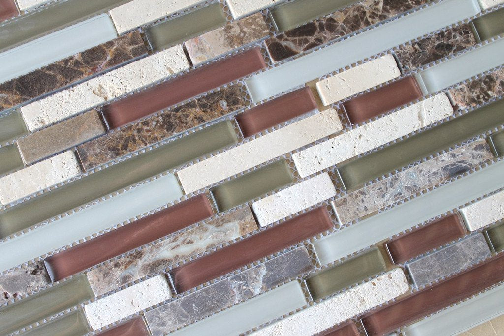 10 sq ft - Bliss Cabernet Stone and Glass Linear Mosaic Tiles - Kitchen Backsplash/Tub Surround