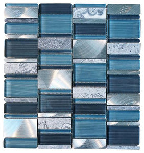 Glossy Blue and Blue Stone Random Brick Rectangle Pattern Glass Mosaic Tiles