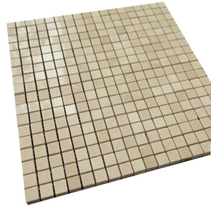 Polished Mini Square Bright Beige Stone Tile Mosaics
