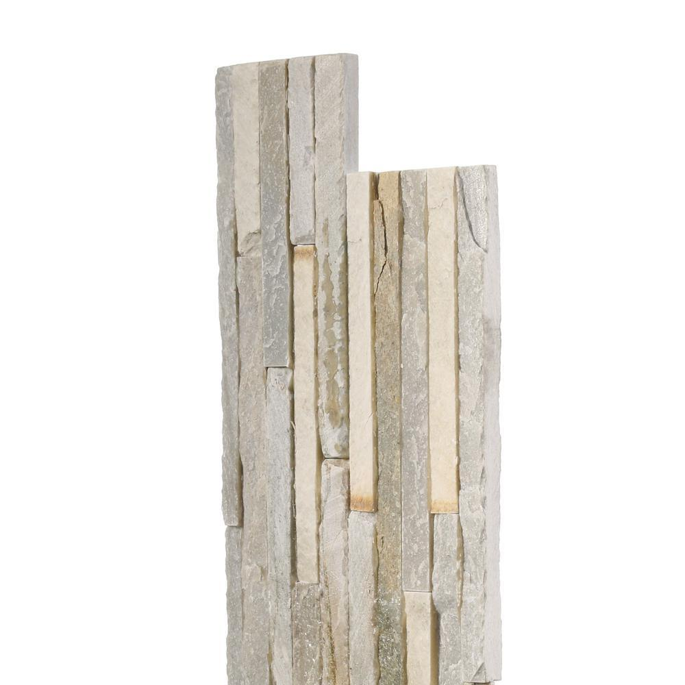 MS International Golden Honey Pencil Ledger Panel 6 in. x 24 in. Natural Quartzite Wall Tile