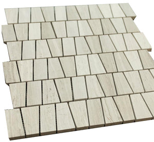 Grey Wooden Look Vertical Trapazoids Pattern Stone Tile Mosaics