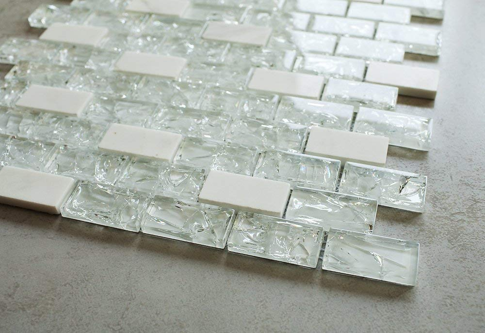 "Super White Cleft Glass  and Bianco Marble 1x2"" Mosaic Tile"