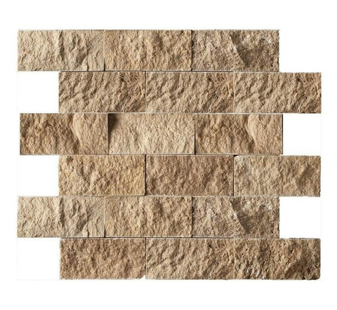 "Noce 2 X 4 Travertine Split-Faced Mosaic Tile ( on 12"" x 12"" Mesh Sheet)"
