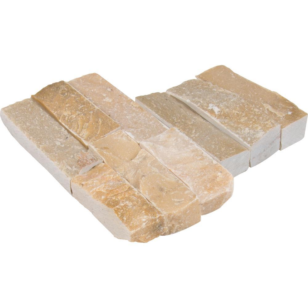 MS International Golden Honey Ledger Corner 6 in. x 6 in. x 6 in. Natural Quartzite Wall Tile (2 sq. ft. / case)