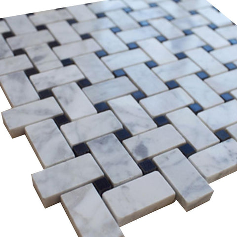 White Carrara Basketweave with Black Dots Stone Tile Mosaics