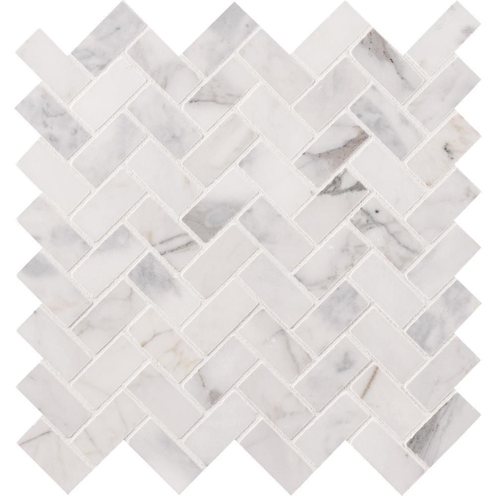 MSI Calacatta Cressa Herringbone 12 in. x 12 in. x 10mm Honed Marble Mesh-Mounted Mosaic Tile - Free Shipping
