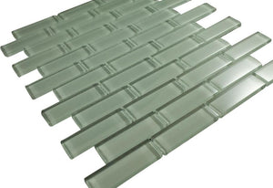 Glossy Mint Green Subway Glass Mosaic Tile