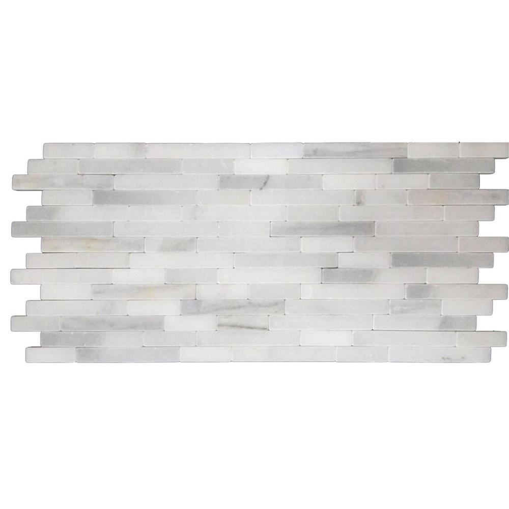 MS International Greecian White Veneer 8 in. x 18 in. x 10 mm Tumbled Marble Mesh-Mounted Mosaic Tile (10 sq. ft. / case)