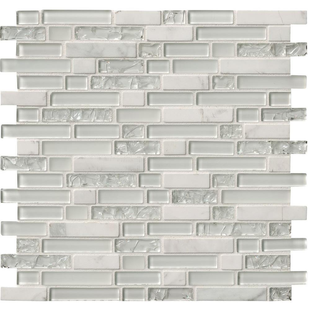 MS International Delano Blanco 12 in. x 12 in. x 6 mm Glass Stone Mesh-Mounted Mosaic Tile