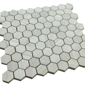 Grey Wooden Look Hexagon Pattern Stone Tile Mosaics