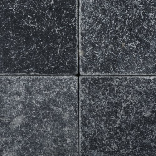 Vogue Tile Antique Look Black Marble (Nero Marquina) 6 x 6 Tumbled Wall and Floor Tile (Box of 5 Sq. ft.)